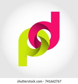 Initial Letter DP Rounded Lowercase Logo. Logo template.