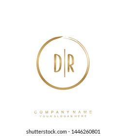 Initial letter DR beautiful handwriting logo vector template