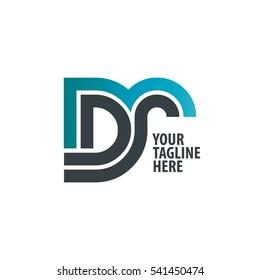 Initial Letter DR DS Linked Design Logo Blue Black