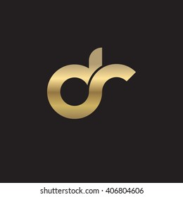 initial letter dr linked circle lowercase logo gold black background