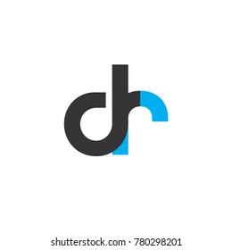 Initial Letter DR Linked Circle Lowercase Logo Black Blue Icon Design Template Element
