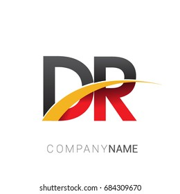 initial letter DR logotype company name colored red, black and yellow swoosh design. isolated on white background.