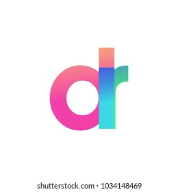 Initial Letter DR Lowercase Logo green, pink and Blue, Modern and Simple Logo Design.