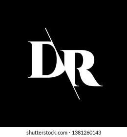 Initial Letter DR Monogram Sliced. Modern logo template isolated on black background
