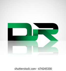 Initial letter DR uppercase modern and simple logo linked green and black colored, isolated in white background. Vector design for company identity.