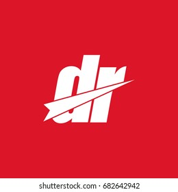 initial letter dr white logo in red background