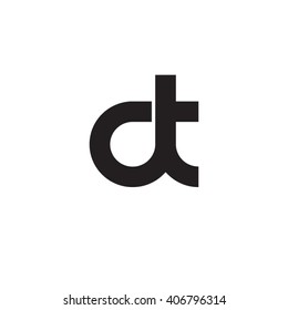 initial letter dt linked circle lowercase monogram logo black