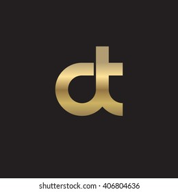 initial letter dt linked circle lowercase logo gold black background