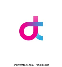 initial letter dt linked circle lowercase logo ping blue purple