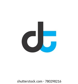 Initial Letter DT Linked Circle Lowercase Logo Black Blue Icon Design Template Element