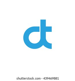 initial letter dt linked round lowercase logo blue