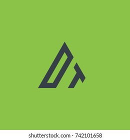 Initial Letter DT Linked Triangle Design Logo