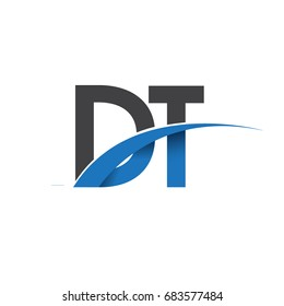 initial letter DT logotype company name colored blue and grey swoosh design. vector logo for business and company identity