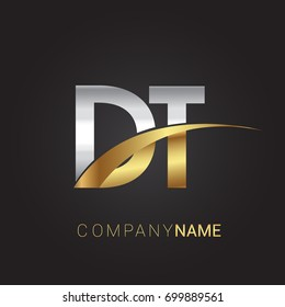 initial letter DT logotype company name colored gold and silver swoosh design. isolated on black background.