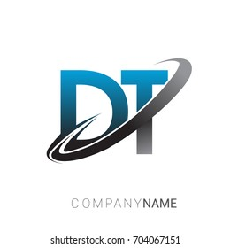initial letter DT logotype company name colored blue and grey swoosh design. logo design for business and company identity.