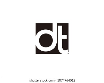 Initial letter dt lowercase logo black and white