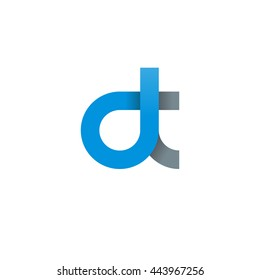 initial letter dt modern linked circle round lowercase logo blue gray