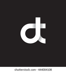 initial letter dt modern linked circle round lowercase logo white black