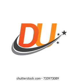 initial letter DU logotype company name colored orange and grey swoosh star design. vector logo for business and company identity.