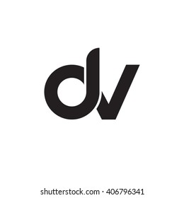 initial letter dv linked circle lowercase monogram logo black