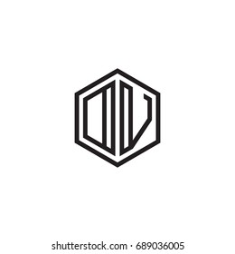 Initial letter DV, OV, minimalist line art monogram hexagon logo, black color