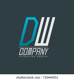 Initial Letter DW Rounded Design Logo