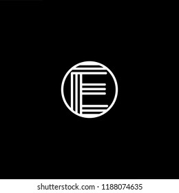 Initial letter E EE EEE OE EO minimalist art monogram shape logo, white color on black background.