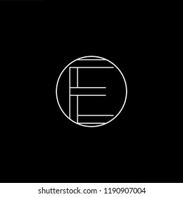 Initial letter E EE OE EO minimalist art monogram shape logo, white color on black background.