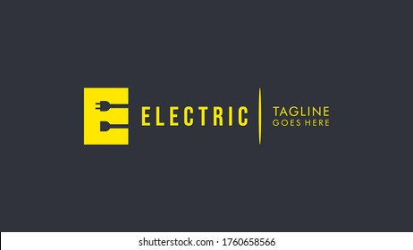 Initial Letter E Electricity Logo. Yellow Square Shape E Letter with Negative Space Wire and Plug Icons inside. Flat Vector Logo Design Template Element.