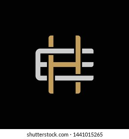 Initial letter E and H, EH, HE, overlapping interlock logo, monogram line art style, silver gold on black background