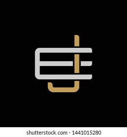 Initial letter E and J, EJ, JE, overlapping interlock logo, monogram line art style, silver gold on black background