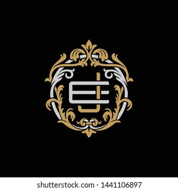 Initial letter E and J, EJ, JE, decorative ornament emblem badge, overlapping monogram logo, elegant luxury silver gold color on black background