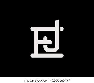 Initial letter E and J, EJ, JE, overlapping interlock logo, monogram line art vintage style on black background
