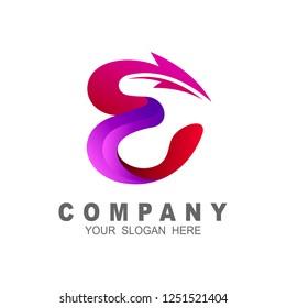 initial letter e logo with arrow shape letter e business logo template purple color