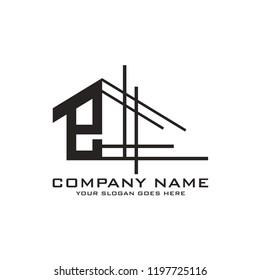 Initial letter E logo template vector