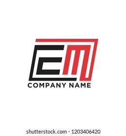 Initial letter E M logo template vector