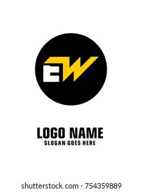 Initial letter E & W logo template vector