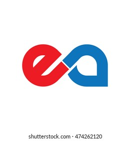 Initial Letter EA Linked Lowercase Logo Red Blue