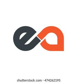 Initial Letter EA Linked Lowercase Logo Black Orange