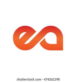 Initial Letter EA Linked Lowercase Logo Orange