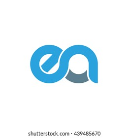 initial letter ea linked round lowercase logo blue