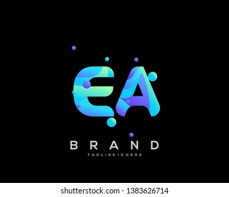 Initial letter EA logo with colorful background, letter combination logo design for creative industry, web, business and company. - Vector
