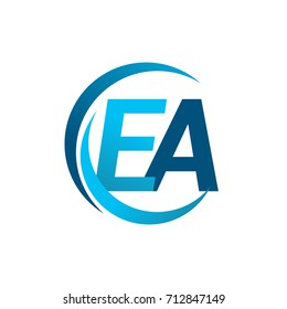 initial letter EA logotype company name blue circle and swoosh design. vector logo for business and company identity.