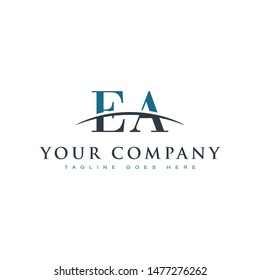 Initial letter EA, overlapping movement swoosh horizon logo company design inspiration in blue and gray color vector