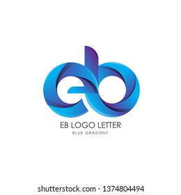 Initial Letter eb Linked Circle Lowercase Logo Blue Icon Design Template Element with gradient - Vector