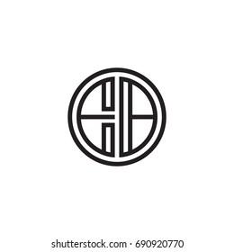Initial letter EB, minimalist line art monogram circle logo, black color