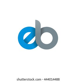 initial letter eb modern linked circle round lowercase logo blue gray