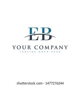 Initial letter EB, overlapping movement swoosh horizon logo company design inspiration in blue and gray color vector
