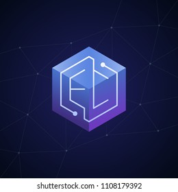 Initial letter EC, block chain, looping mono line circuit letter on hexagon cube logo, blue magenta gradient color on black blue network background
