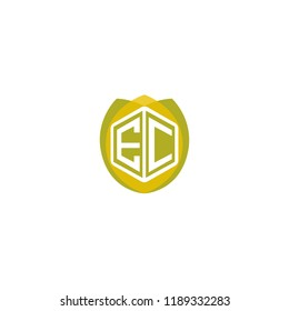 Initial Letter EC Hexagonal Shape Logo Design with Leaf, Nature, Ecology, Environment Illustration